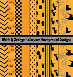 Black orange halloween background designs vector