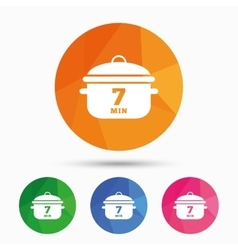 Boil 7 minutes Cooking pan sign icon Stew food vector image