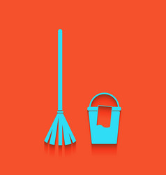 Broom and bucket sign whitish icon on vector