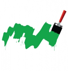 brush and green paint vector image