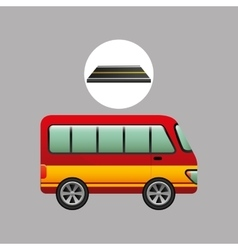 Bus transport red and yellow design vector