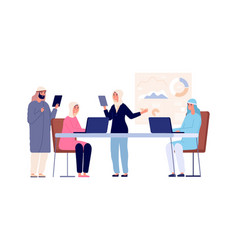 business office workers arab managers muslim vector image