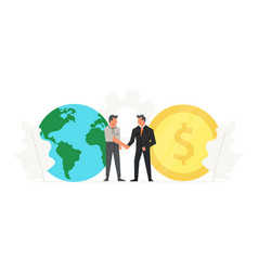businessmen make a contract before big coin vector image