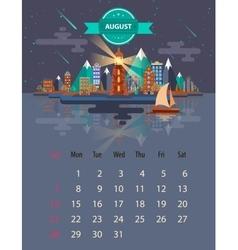Calendar of august vector