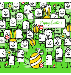 Cartoon people and happy easter card vector