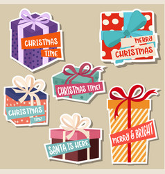 christmas stickers collection with gift boxes vector image