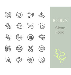 Clean food outline icons vector