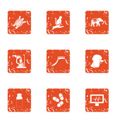 Cleaning the animal icons set grunge style vector