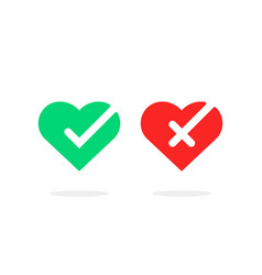 Colored hearts with check marks vector