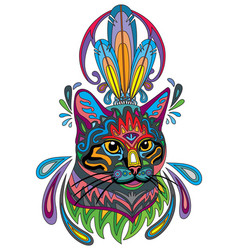 Colorful ornamental cat 3 vector