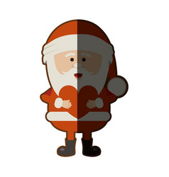Colorful silhouette of santa claus with heart in vector