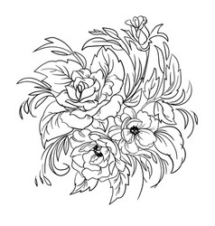 Coloring page with flowers vector