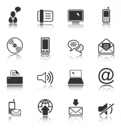 Communication icon set white series vector