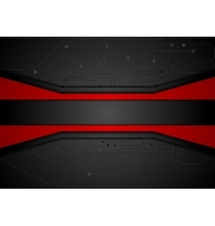 Contrast red black tech abstract background vector image