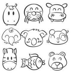 cute animal head doodle style collection vector image