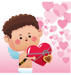cute cupid with heart locked vector image