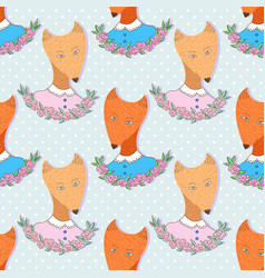 cute foxes pattern seamless background print for vector image