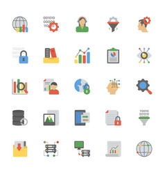 Data management flat icons collection vector