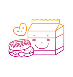 Degraded line kawaii donuts with milk box and vector