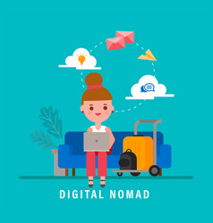digital nomads concept young adult working vector image