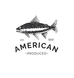 drawing trout in seafood packaging logo vector image