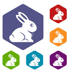 easter bunny icons set hexagon vector image