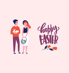 Easter postcard or greeting card template with vector