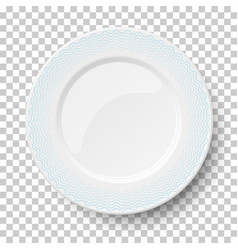 empty classic white dish with wavy blue patterns vector image