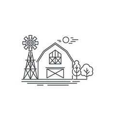 Farm barn line icon outline of horse vector