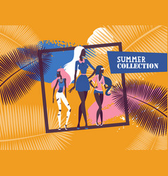 fashion models demonstrating new summer clothes vector image