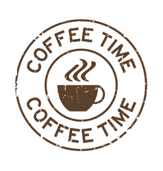 Grunge brown coffee time word with cup icon round vector