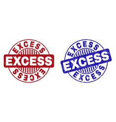 Grunge excess scratched round stamp seals vector