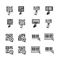 hand and zoom qr code icon set vector image
