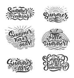 hand drawn set with lettering about summer vector image