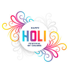 Happy holi festival colorful floral background vector