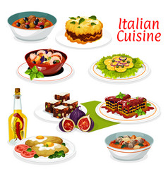 Italian meat and seafood dishes fruit dessert vector