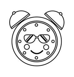 kawaii cartoon clock alarm sunglasses character vector image
