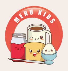 Kids menu kawaii breakfast nutrition vector