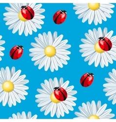 Ladybug and camomile seamless vector image