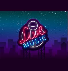 Live musical neon sign logo emblem symbol vector