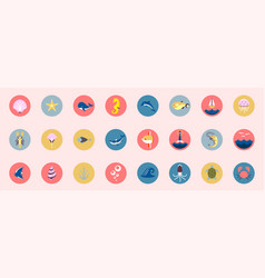 marine icons set sea and ocean emblems flat vector image