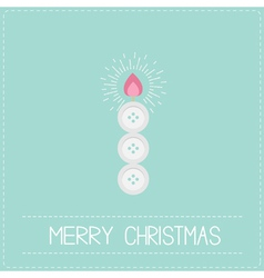 Merry Christmas shining candle button Flat design vector