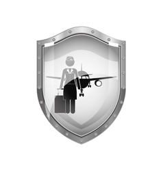 metallic shield of flight attendant and aeroplane vector image