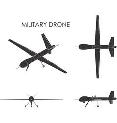 Military drone predator black fill vector