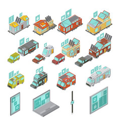 Mobile homes isometric set vector