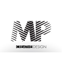 Mp m p lines letter design with creative elegant vector
