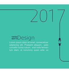 New Year 2017 with plug and socket vector image
