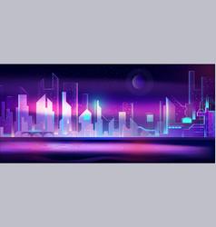 night city in neon lights futuristic cityscape vector image