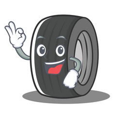 Okay tire character cartoon style vector