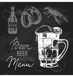 Oktoberfest beer hand drawn chalkboard design set vector